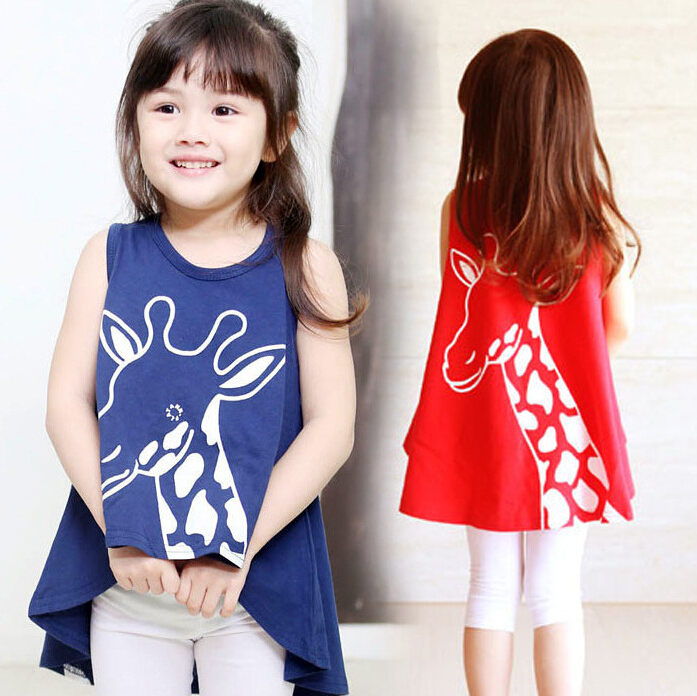Cute Giraffe Pattern Baby Girl Dress Red and Blue ...
