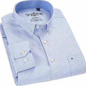 Image 2 - Chemise à manches longues pour homme, de marque, en coton, tenue formelle, Slim, rayée, collection 2018, collection nouveauté