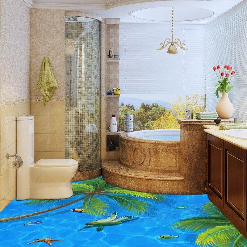 Free Shipping 3D sea coconut floor decorative painting self-adhesive waterproof living room bathroom bedroom flooring mural
