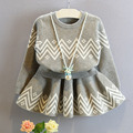 2-7Yrs Baby Girls Clothing Sets Knit Sweater + Skirt 2Pcs/lot High Quality Children Clothing 2016 Spring Kids Clothes Girl Gary
