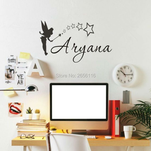 Litter Fariy Personalised Name Wall Decals Magic Stick Stars Children Name  Wall Stickers Art Home Decor Part 81