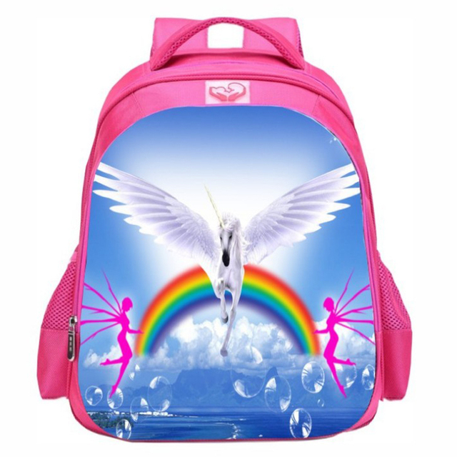 a8f7f43683 girls pink bags for school 16 inch Junior student school backpack bag  Unicorn school bags for girls backpacks for teenagers
