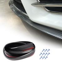 DWCX Car Carbon Fiber Texture Rubber Front Bumper Lip Trim Splitter Guard Chin Body Spoiler Protector for VW Mercedes Benz Audi