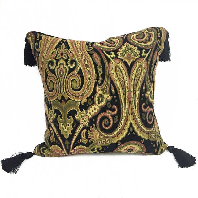 Free Shipping Vintage Black Paisley Chenille Cushion Cover 4 Tassels
