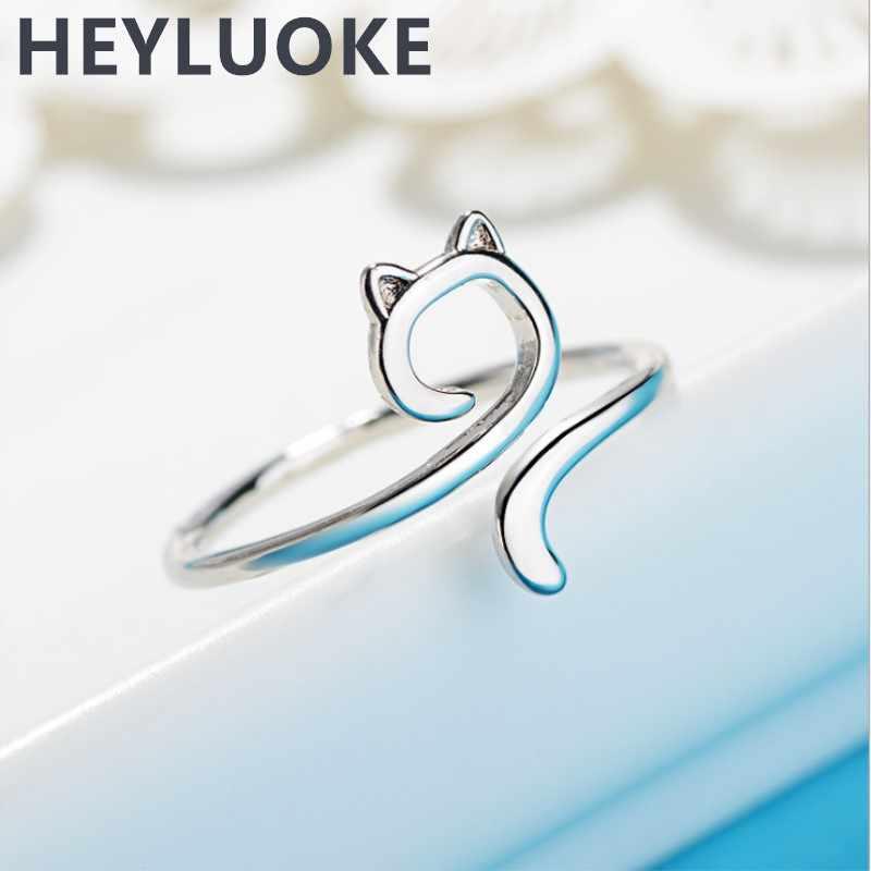 HEYLUOKE 100% 925 Настоящее серебро 925 пробы модные ювелирные изделия полые кошечки коктейльные кольца Размер 5 6 7 девочек Дети Рождественский подарок