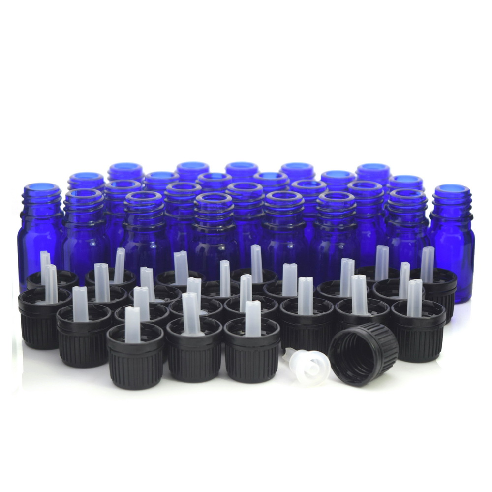 24pcs 5ml Cobalt Blue Glass Bottles Vials Containers With Euro Dropper Black Tamper Evident Cap For Essential Oils Aromatherapy