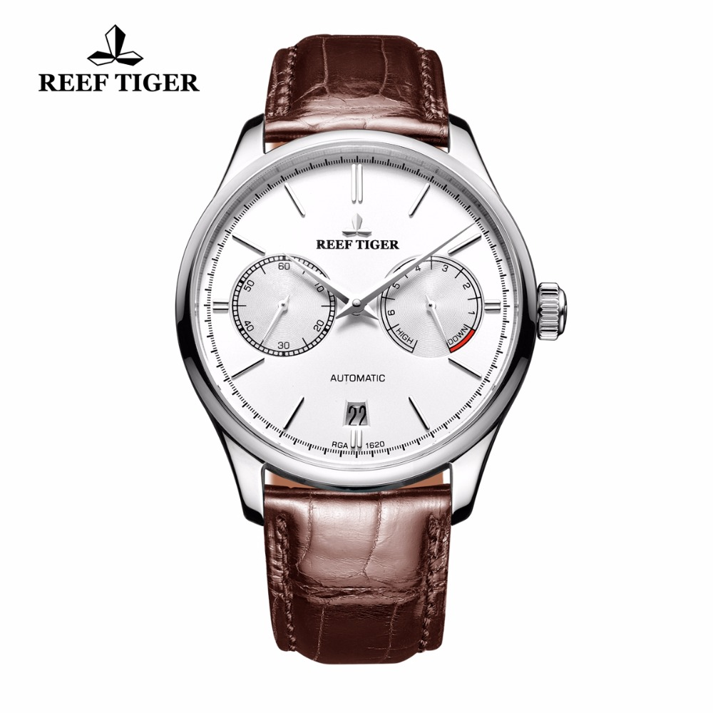 Reef Tiger/RT Simple Business Watches for Men Steel White Dial Automatic Watch with Power Reserve Date RGA1620 рубашка mango mango ma002ewzzk31