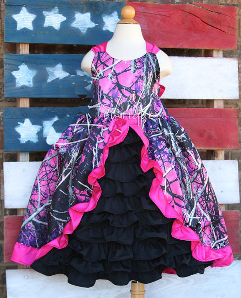 US $88.0 |hot pink muddy girl camouflage flower girl dresses camo baby girl  wedding party dress free shipping-in Flower Girl Dresses from Weddings & ...