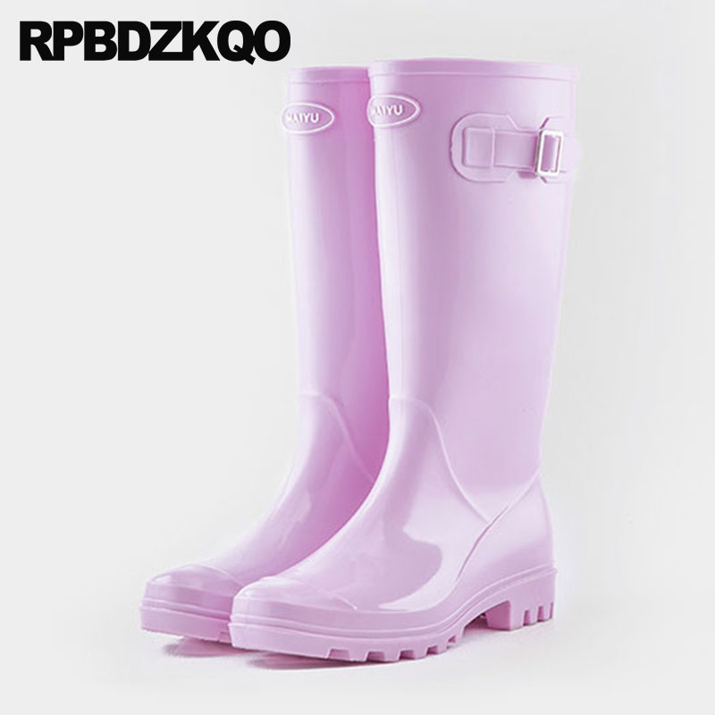 Women Wide Calf Cheap Pink Purple Pvc Embellished Candy Rain Boots Jelly Shoes Fur Long Waterproof Knee High Rubber Rainboots image