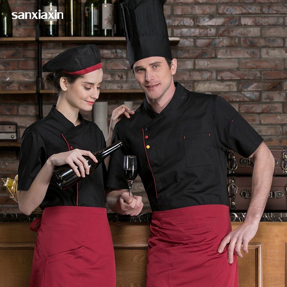 High Quality Restaurant Uniform Short Sleeved Hotel Chef Uniform Food Service Shirt Breathable Kitchen Chef Jacket Catering Coat