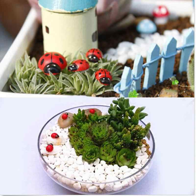 10 Cái/bộ Thu Nhỏ Trang Trí Coccinella Septempunctata DIY Nhựa Hàng Thủ Công Nhỏ Dễ Thương Trang Trí Sân Vườn Mới Xuất Hiện Bán