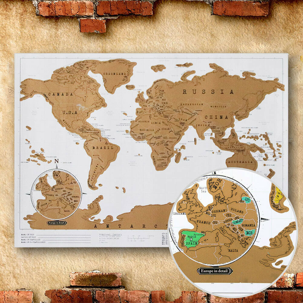 New Deluxe Edition Scratch Map With Scratch Off Layer Visual Travel Journal World Map For Educatioin