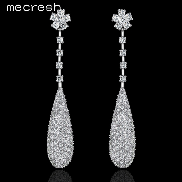 Mecresh Micro Pave Cz Long Drop Earrings For Women Water Clic Flower Wedding