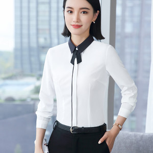 Image 2 - Spring New White Shirt Women Fashion Formal Business Patchwork Long Sleeve Slim Chiffon Blouses Office Ladies Plus Size Tops