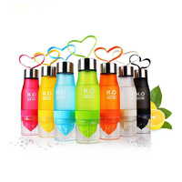 650ml Creative Children Plastic Water Bottles Handy Cup With Lid Squeeze Fruit Juice Cup Lemon Cup