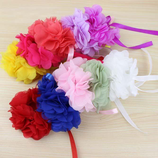 Red Pink Blue Purple Orange Green Wrist Flower Wedding Bride Corsage Hand Decorative Wristband Bracelet Bridesmaid Hand Flower