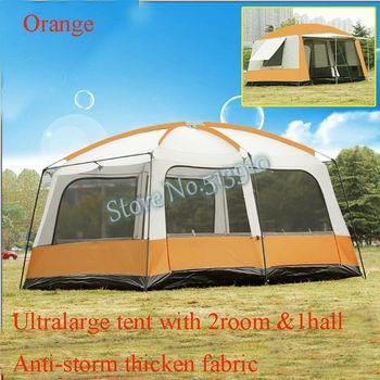 Ultralarge 6 10 12 двухслойная уличная 2 гостиных и 1 Холла семейная палатка для кемпинга с большим дождем из толстой ткани