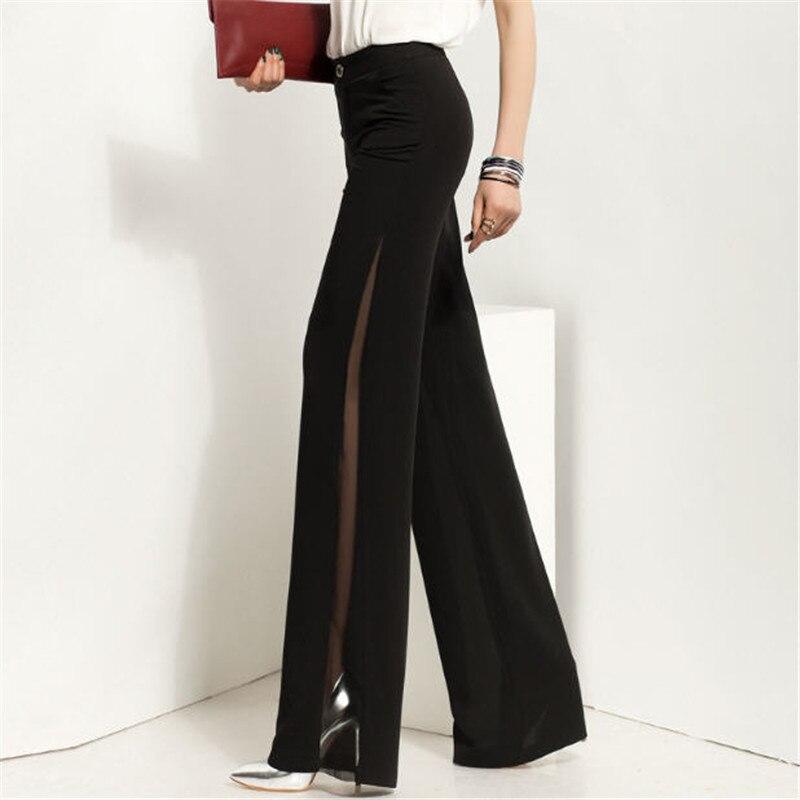 High Waist Wide Leg Pants Women Summer New Fashion Ladies Plus Size Chiffon Sexy Wide Leg Trousers Office Work Pants A1740