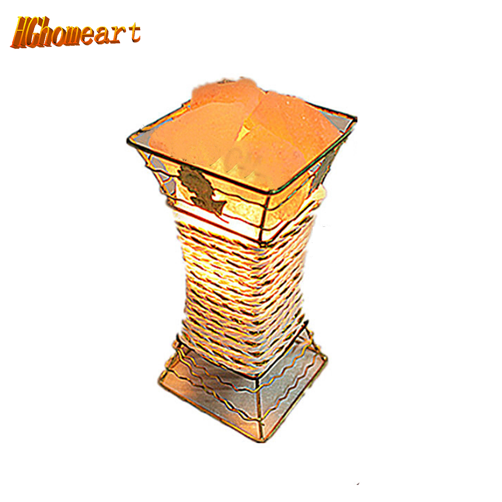 Véritable creative chambre nuit de lampe de chevet lumière dimmable sel de fer cristal 110 V-220 V e17 lampe de table