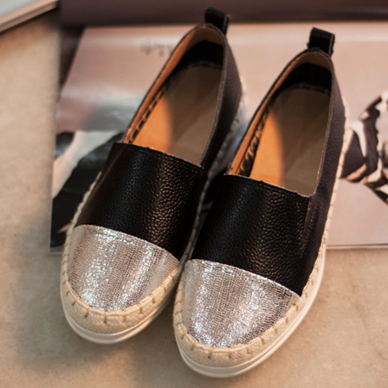 2016 Spring Fall Women Shoes Flat White Black Loafers a Pedal Lazy Single For ZK3.5
