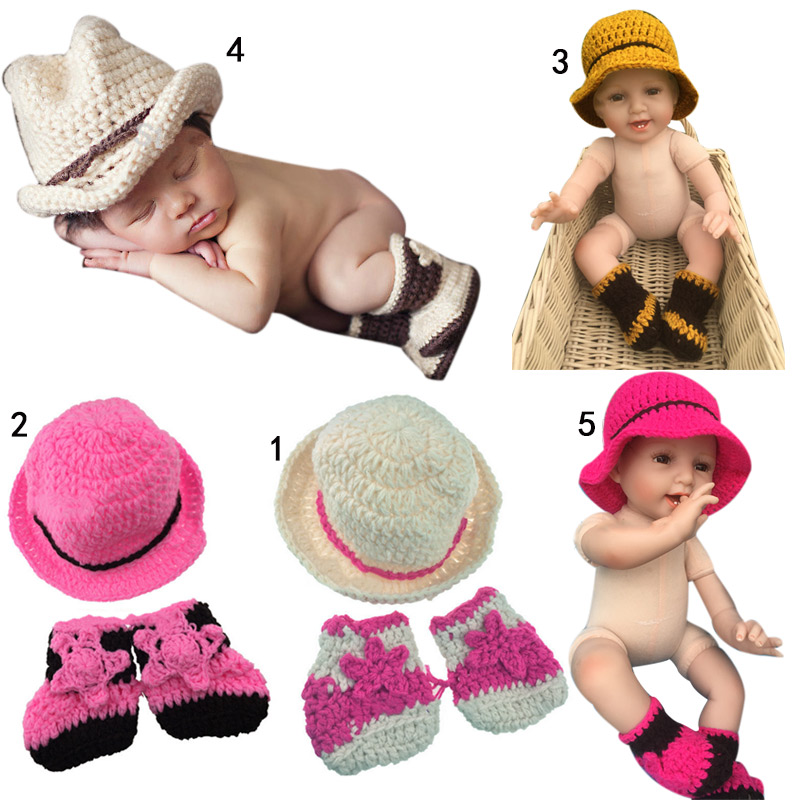 New Design Cute Baby Cowboy Hat Crochet Infant Toddler Photo Props Knitted Caps Children Photograph Beanies Cap FJ88