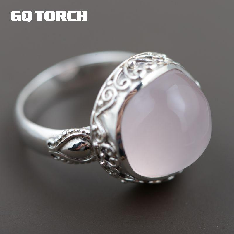 GQTORCH Natural Pink Quartz Ring 925 Sterling Silver Rings For Women Big Round Shaped Vintage Flower Carving Fine Jewelry gqtorch natural purple amethyst rings for women 925 sterling silver jewelry vintage thai silver flower engraved anelli argento