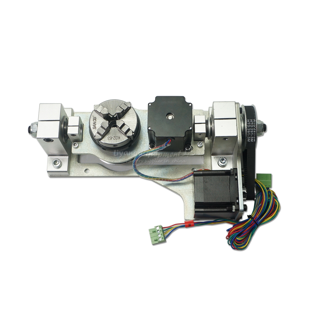 4 Jaw Chuck 60MM A B 5th Four Axis 55MM Rotation With Table Stepper Motor For Cnc Router