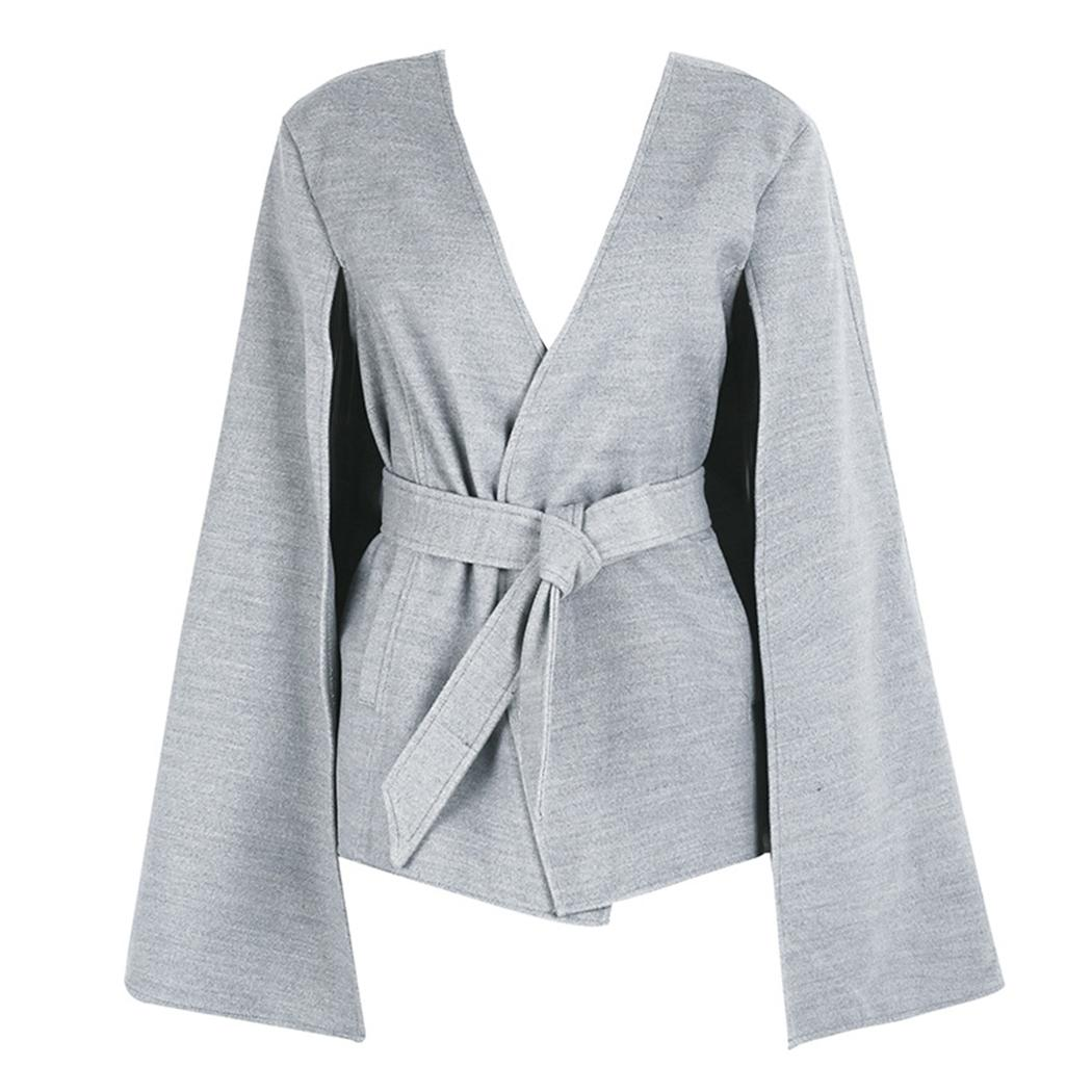 Coat Womens Jacket 2017 Winter Coat Casaco Feminino Kimono Long Split Flare Sleeve Belted V Neck Tops Plus Size Coats Jackets