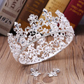 Golden crown pearl hair ornaments Baroque bride headdress Retro Red Rhinestone tiara