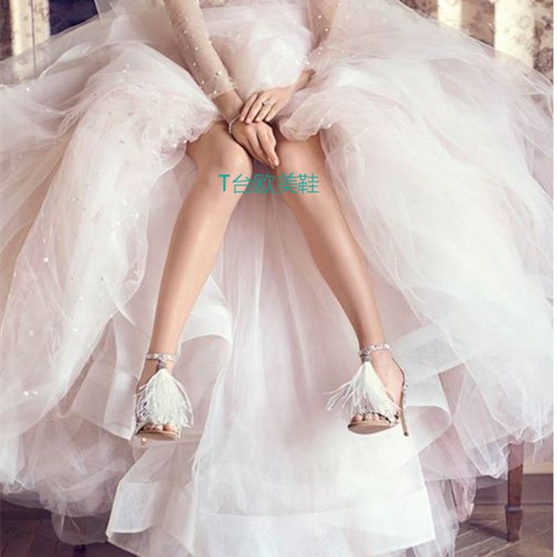 D'été Mode Sexy De Vente Cristal Sandales Femmes Haute Robe Dames Chaussures As Super Blanc Crème Pic Plume Courroie Chaude Talons wS4XqZB0