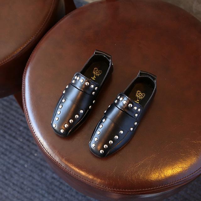 Meninos black white dress shoes casamento primavera verão casual flat shoes moda couro das crianças infantis