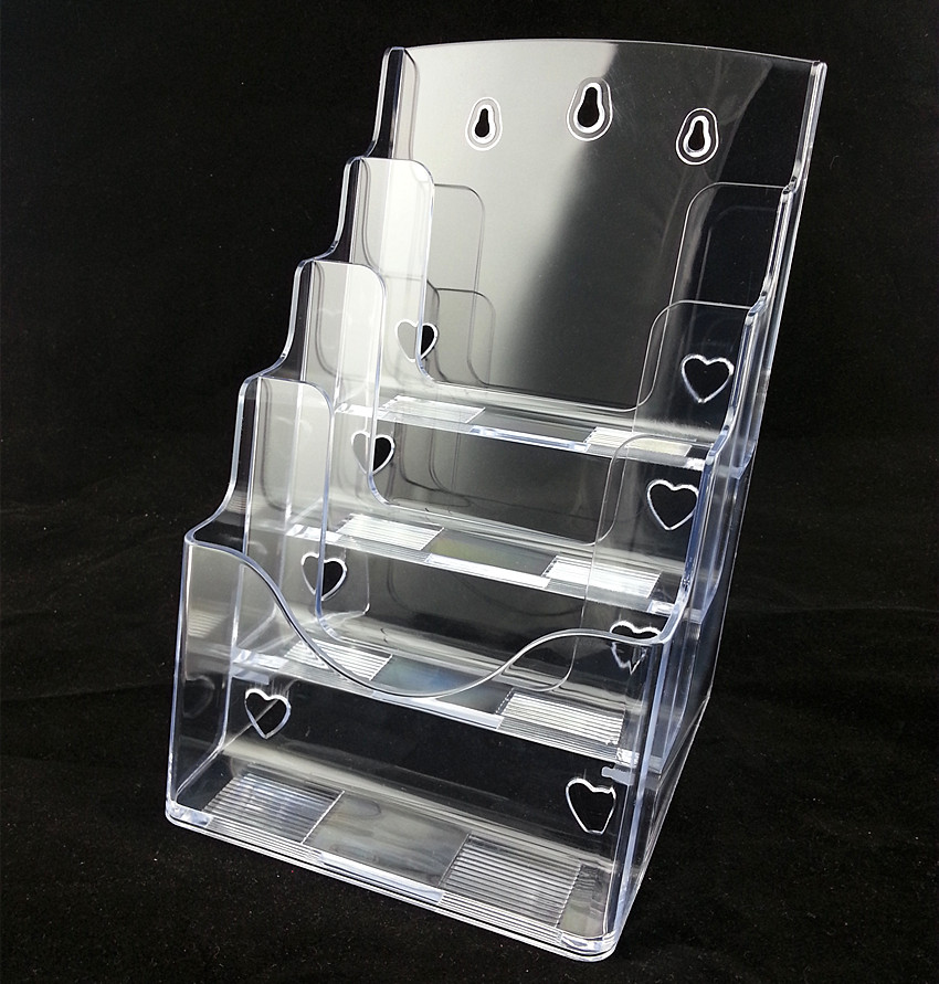 Clear A4 4 Tiers Plastic Acrylic Brochure Literature Pamphlet Leaflet Display Holder Racks Stand On Desktop 2pcs a4 4 layer half page brochure holder book data file holder display rack acrylic data file brochure display stand