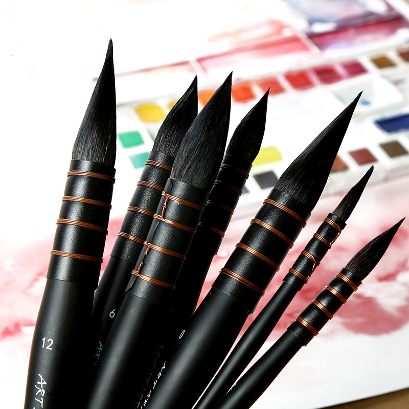 Office & School Supp. ...  ... 32740773024 ... 2 ... 1Piece Handmade Squirrel's Hair Artist Watercolor Paint Brush French Style Pointed Painting Brushes For Watercolor Art Supplies ...