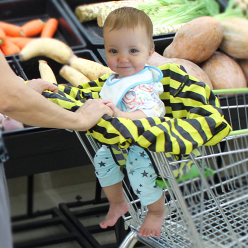 Supermarket Shopping <font><b>Cart</b></font> Cover Baby Seat Cover Waterproof Bee Nylon Striped Cartoon Baby Safety Seats for Shopping outdoor