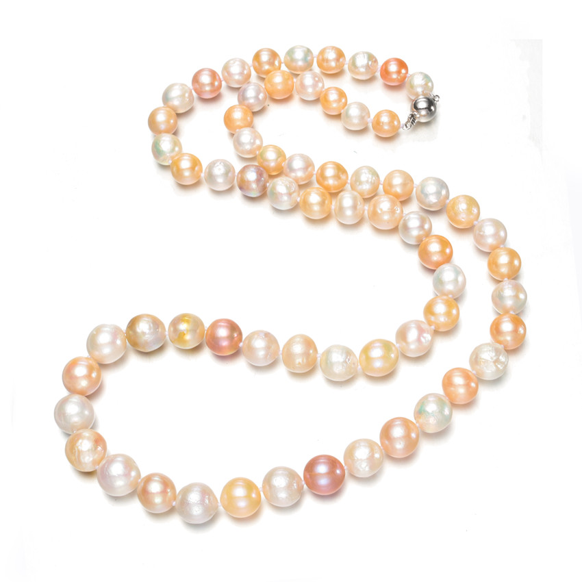11-13mm AA nucleated baroque mixed color natural pearl necklace long necklace11-13mm AA nucleated baroque mixed color natural pearl necklace long necklace