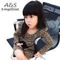 2016 New baby Chirld Girl fashion leopard Printed dress Kids long sleeve Mini dress baby Girl autumn clothing