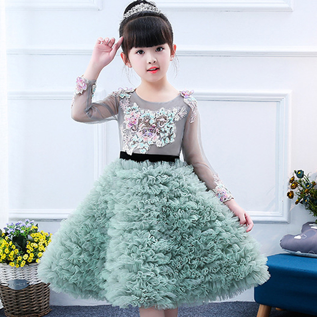 680d3998b6e12 Toddler girl flower appliques lace tiered dress green kids princess long  sleeve piano costume ball gowns evening party elegant