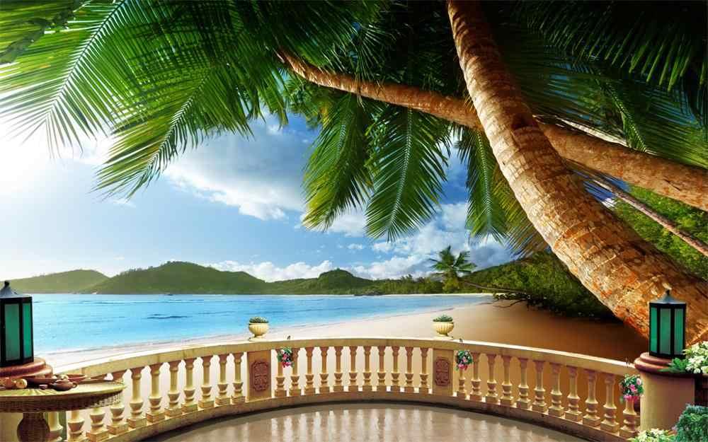 高級遮光 3D 窓のカーテンリビングベッドルーム、緑のビーチカーテン椰子寝室用