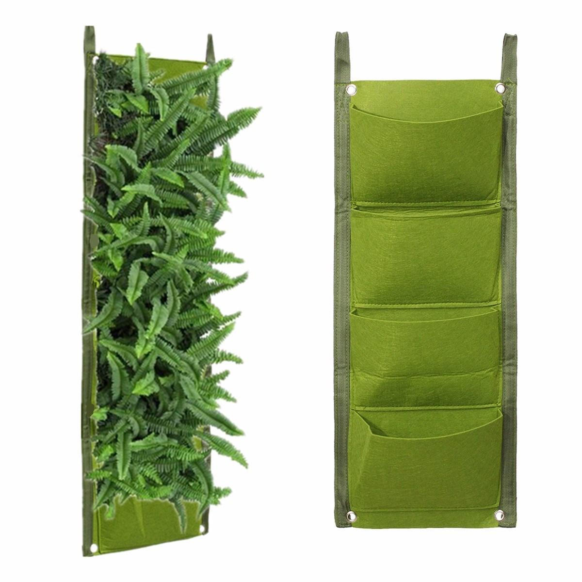 4 poches planteur sacs vert suspendu vertical mur jardin fleur plantation pot accueil intérieur extérieur balcon
