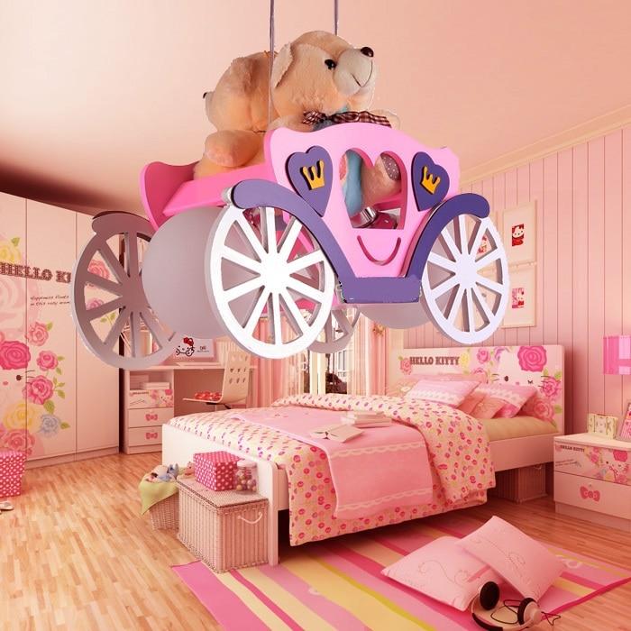 wood glass lampshade pink/ blue pendant lamps Modern children room pendant lights boy girl bedroom kindergarten Bear car