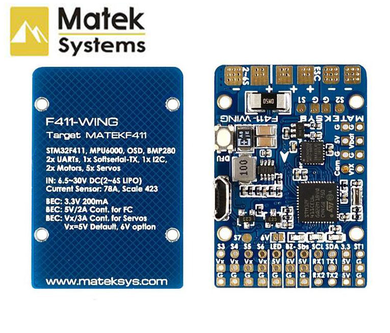 Matek Systems F411 WING STM32F411 Flight Controller Control With INAVOSD MPU6000 BMP280 Support Fly Wing Fixed