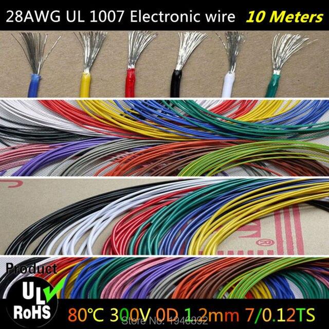 10 Mt/los Flexible Litze von 28AWG 10 Farben UL1007 Durchmesser 1 ...