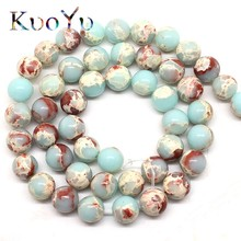 e1eae034eaf1 Venta al por mayor redonda ShouShan piedra serpiente azul piedra perlas  para joyería hacer 15 pulgadas