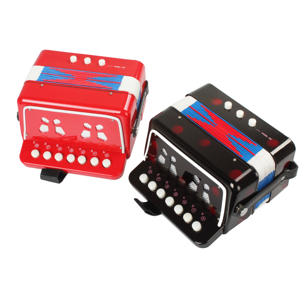 Mini Toy Accordion 7 Keys + 3 Buttons Keyboard Musical Instrument For Children Kids Gift