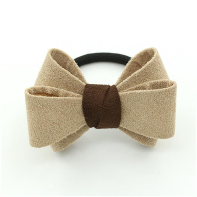New Europe Korean Style Girls  Solid Color Elastic Hair Rope Tie Big Bow Dot Rubber Ponytail Scrunchy Hair Accessories