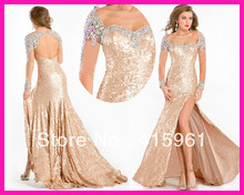 2014 Gold Sexy Backless Long Sleeve Sequined Mermaid Pageant Prom Evening Dresses E3894