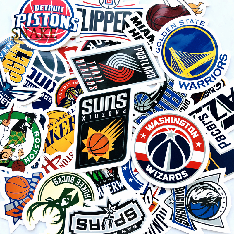30 Pcs/Lot NBA Club Logo Stickers Waterproof Sticker For Car Laptop Trunk Skateboard Guitar Bicycle Decal Car-Styling gifts toys image