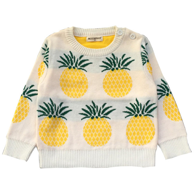 Autumn Winter Kids Sweaters New Fashion Baby Girls Boys Long Sleeve Pineapple Print Shoulder Button Cotton Children Clothes 2-7Y