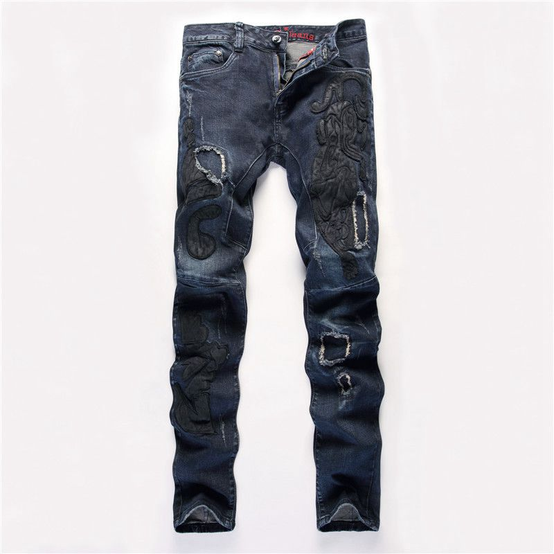 #3240 2016 Fashion Dark blue Slim fit Straight Embroidery Ripped jeans for men Biker jeans Famous brand Patch Jeans masculino