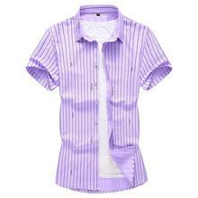 Short sleeve Blouse Men Plus Size Striped Men's Shirts Casual Mens clothing Slim fit Mens Dress Shirts plus size beaded striped blouse
